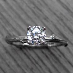 Reserved Moissanite Twig Engagement Ring in White by KristinCoffin, $1150.00
