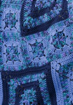 Bold Blues Throw--Caron Simply Soft--Easy--I love the different-sized squares