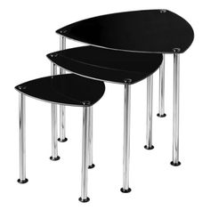 Premier Housewares Nest of 3 Tables with Black Glass Top and Chrome Legs  43 x 48 x 48 cm >>> See this great product.