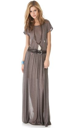 favorite long dress thus far: jersey dress in mink from shop shopbop.