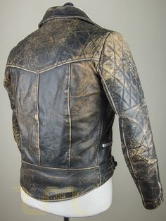 Vintage Motorcycle City Leather Biker Jacket With Patina image five
