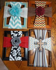 Fabric crosses on thrift store frames.