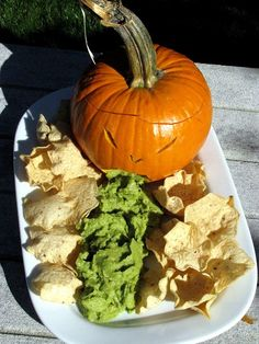 Simple Puking Pumpkin Appetizer