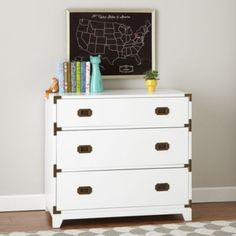 If you want a dresser with a stylish design and an adventurous spirit, our Campaign Dresser is the perfect candidate.  Its solid wood drawers provide plenty of storage and its brass finished drawer pulls and decorative corner brackets give it a refined touch.  Plus, it's available in multiple bold colors that'll stand out in any room.