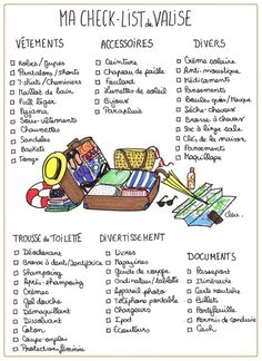 The checklist to print for packing - Confidential .- La check-list à imprimer pour faire sa valise – Confidentielles The checklist to print for packing – Confidential - Weekly Log, Europa Tour, Do It Yourself Baby, Check Up, Travelling Tips, Traveling, French Language, Bujo, Just In Case