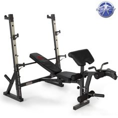 Marcy Diamond Elite Olympic Bench with Squat Rack ~~~ # Heavy duty frame construction with oversized tubing and safety catches # Akimbo style upright crutches for unobstructed bench press lifting # Four position back pad with quick adjust slide for decline, flat, incline and military presses #WeightsBench #Strength #MFN