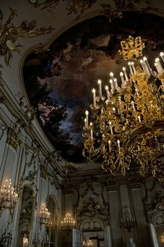 Chandelier and ceiling mural....artistry always leaves me in awe (not something I want in my HOME, but can appreciate the beauty)