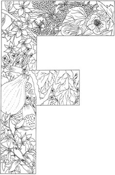 Letter F with Plants coloring page from English Alphabet with Plants category. Select from 24661 printable crafts of cartoons, nature, animals, Bible and many more.