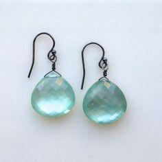 brilliant aquamarine quartz and mother of pearl doublet briolettes