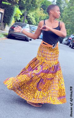 African print maxi skirt/midi dress combo in bohemian style.