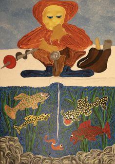 Ice fisher/Maarit Korhonen, acrylic, oilsticks, canvas, 92cm x 65cm Dark Paintings, Original Paintings, Online Painting, Artwork Online, Dancer In The Dark, Autumn Painting, Original Art For Sale, Artists Like, House Painting