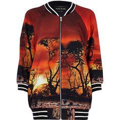 sunset photoreal print bomber jacket