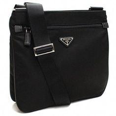 bc1381a3ae77 SALE PRICE -  849 - Prada Midnight Black Tessuto Nylon  amp  Saffian  Leather Designer Crossbody