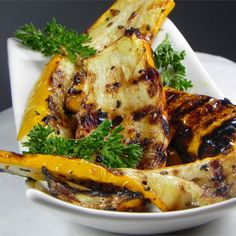 """Grilled Yellow Squash I """"Quick, easy and delicious, this is just as tasty prepared on an indoor grill. I used zucchini as well as yellow squash, which was a nice color contrast on the plate."""""""