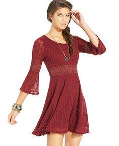 American Rag Crochet-Knit-Panel Sweater Dress - Juniors New Arrivals - Macy's