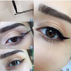 How to Apply Eyeliner - Hacks, Tips, and Tricks for Begginners Our tips on how to apply eyeliner are a game changer. Find out the hacks that actually work in practice and nail your eyeliner like a pro. Eyeliner Hacks, Eyeliner Styles, How To Apply Eyeliner, No Eyeliner Makeup, Eye Makeup Tips, Beauty Makeup, Applying Eyeliner, How To Winged Eyeliner, Winged Eyeliner Tutorial