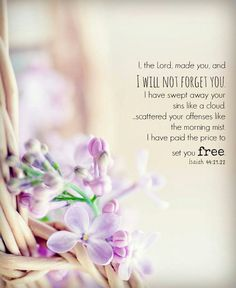 """""""Isaiah 44:21-22 (NLT) """"Pay attention, O Jacob, for you are my servant, O Israel. I, the Lord, made you, and I will not forget you. I have swept away your sins like a cloud. I have scattered your offenses like the morning mist. Oh, return to me, for..."""