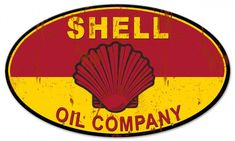 Shell Oil Company, Grunge Metal Sign 24 x 14 USA Made, Powder Coated Steel, Vintage Style Retro Gas Oil Garage Art Wall Decor by HomeDecorGarageArt on Etsy Shell Oil Company, Shell Gas Station, Royal Dutch Shell, Standard Oil, Car Signs, Vintage Metal Signs, Garage Art, Gas Pumps, Oil And Gas
