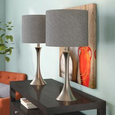 """Alcott Hill Chesterfield 24.5"""" Brushed Nickel Table Lamp Set & Reviews 