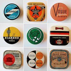 Vintage typing-ribbon tins