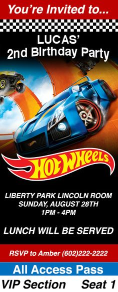 Most Valuable Racer: Use these pit passes as inspiration for your kids next Hot Wheels themed birthday party.