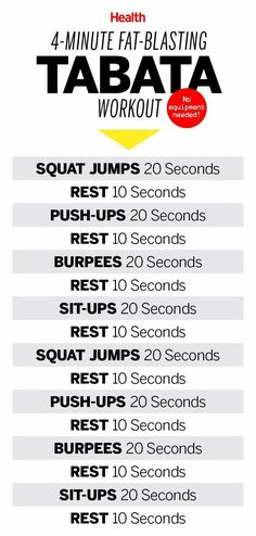 Tabata is a type of interval training that brings your heart rate up and gets you a workout in just 4 minutes. Here's a great 4-minute, fat-blasting Tabata workout for people who don't have a lot of time. | http://Health.com