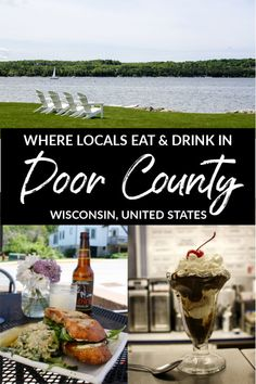 Want to eat and drink like a local foodie in Wisconsin's Door County? Locals share their favorite places for food and drinks in Door County, Wisconsin, USA. #TravelWI #DoorCounty #Wisconsin #MidwestTravel #foodtravel