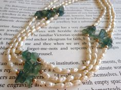 Freshwater Pearls Aventurine Chips Triple Strand Vintage Necklace 1960s Jewelry Cultured Pearls Chinese Jewellery Mothers Day Pearl Necklace by LovesVintage43 on Etsy