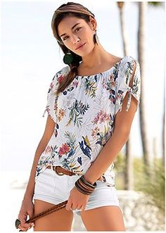 Order a sexy White Multi Tie Detail Floral Top from VENUS. Shop short sleeve tops, tanks, tees, blouses and more at an affordable price today! Womens Fashion Casual Summer, Capri Jeans, Women's Fashion Dresses, Giuseppe Zanotti, Floral Tops, Clothes For Women, Venus Shop, Latest Trends, Tie Dye