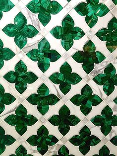 Artistic Tile is a family run business that offers full service custom capabilities. Cut with water jet precision, this beautiful mosaic features malachite, marble and mother of pearl. industry Going Green at the AD Design Show and Dining by Design Floor Patterns, Tile Patterns, Marble Mosaic, Mosaic Tiles, Tiling, Artistic Tile, Go Green, Green Bar, Mint Green