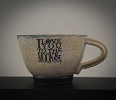 "Uniek handgedraaide keramiek Espresso tasjes / koffietasjes / cup / steengoed / decal ""I love you to the moon & back"" / gift Valentijn Espresso, I Love You, My Love, Decals, Moon, Tableware, Gifts, Etsy, Espresso Coffee"