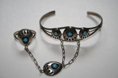 Sterling Silver Turquoise Bear Paw Slave Bracelet,Native American by pasttimejewelry on Etsy