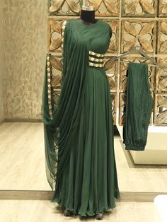 Buy Georgette Tulle Gown In Olive Green Colour Online in India at green color gown - Green Things Stylish Sarees, Stylish Dresses, Fashion Dresses, Indian Designer Outfits, Indian Outfits, Designer Dresses, Indian Wedding Gowns, Indian Gowns Dresses, Drape Gowns