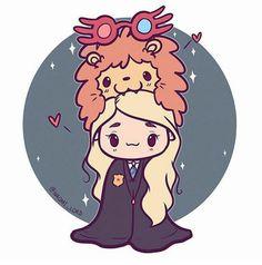kawaii harry potter and luna love good Harry Potter Anime, Harry Potter Fan Art, Harry Potter Drawings, Harry Potter Universal, Harry Potter Fandom, Harry Potter Characters, Harry Potter World, Harry Potter Memes, Potter Facts