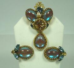 Regency Blue Gold Opalescent Drop Brooch Set