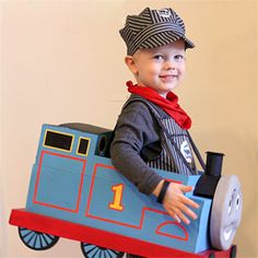 Make an adorable DIY Thomas the Train Costume from a carboard box!