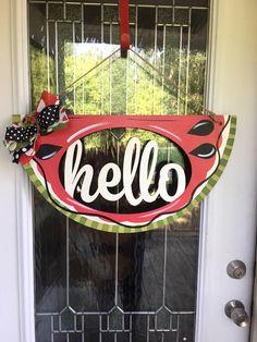 A personal favorite from my Etsy shop https://www.etsy.com/listing/546333905/hello-door-hanger-watermelon-door-hanger