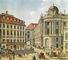 Micheal's Square (Burg Theatre far right), Vienna, 1800 Old Buildings, 18th Century, Austria, Barcelona Cathedral, Taj Mahal, Louvre, History, Architecture, World