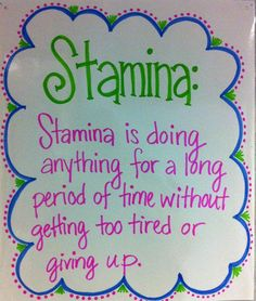 Stamina (use dry erase markers to write word & definition for day or week)