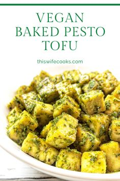 Vegetarian Gluten free · Serves 4 · Basil pesto is tossed with tofu that has been seasoned and roasted with simple spices for a savory dish that is practically effortless. Savoury Dishes, Vegan Dishes, Pesto Dishes, Vegan Pesto, Basil Pesto, Vegan Raw, Clean Eating Recipes, Cooking Recipes, Eating Clean