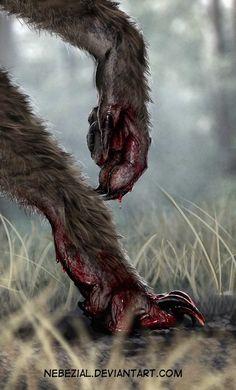 Werewolf Art by Nebezial @ deviantart Anime Wolf, Art Wolfe, Werewolf Art, Vampires And Werewolves, Creatures Of The Night, Deviantart, Horror Art, Mythical Creatures, Dark Art