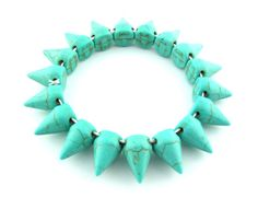"16"" 49 pcs Howlite Stone Gemstone Bullet Spikes Stud Turquoise Color Beads Charms Pendants Necklace Jewelry 302974"