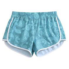 e65397dbb7be3 Women Quick Dry 4-Way Stretch Paisley Beach Board Shorts Light Blue Medium  US 8