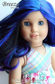 Breeze Blue Purple & Black Doll Wig for Custom American Girl Dolls (Size 10-11)  #Wig