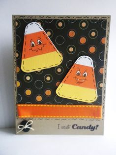 Halloween Candy Corn card using Peachy Keen stamps and Scrappy Moms stamp set for sentiment