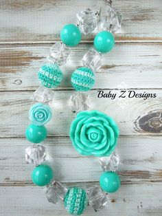 Aqua and Crystal Clear Rose Chunky Necklace  by babyzdesigns, $18.00