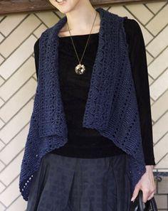 crochet vest- good shape- sari ribbons?