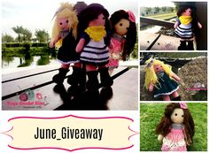Its June_Giveaway yaaay    I will choose 6 Lucky winners ‍‍‍ Prize: a book of three doll's patterns (Jesy, Olivia and Sou), its worth 12$ so its a big deal  I'm sure you will love them all. I hope that they will encourage you to create the doll of your own dreams, either for a little girl you love or for the little girl inside.  for details visit the link Giveaway is open until 18th of June, I will choose the winners Randomly