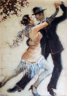 Tango Allure, an original oil painting by Janet Kruskamp available as an original painting in various sizes. The romantic image features a man and woman tango dancers, captured at the peak of a move to the right, hands in the front are stretched high together, back legs are thrust out to the left. Her front leg is bent and between his, both dancers are fully extended in a classic pose. Her feathery scarf billows behind her neck, and the fringed bottom of her dress hangs between her legs. The…