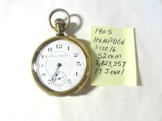 Excited to share the latest addition to my #etsy shop: 1905 Hamden Pocket Watch 17 Jewel Size 16 52mm in Silverode Gold Plated Case http://etsy.me/2jBV9Jk #accessories #watch #hampdenpocket #17jewelwatch #openfacewatch #pocketwatch #vintagepocketwatch #kayesvintagejewe